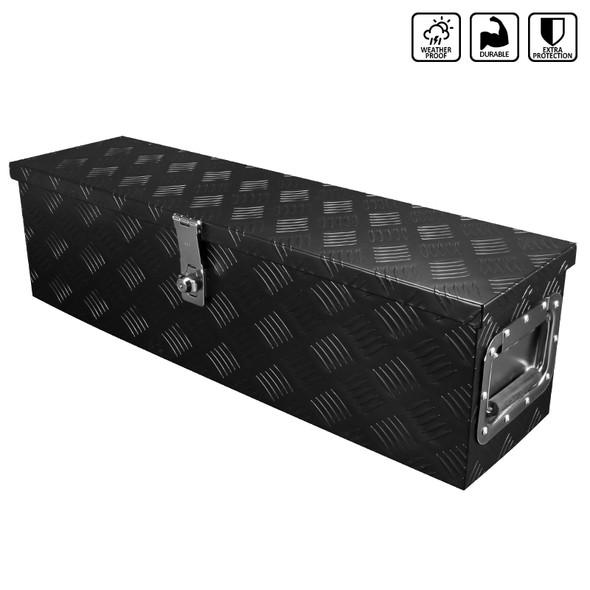 "31"" Heavy Duty Aluminum Tool Box Pickup Trailer Underbody Storage w/ Handles, Lock, & Keys (Black)"