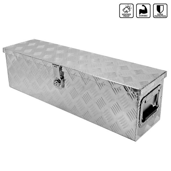 "31"" Heavy Duty Aluminum Tool Box Pickup Trailer Underbody Storage w/ Handles, Lock, & Keys"