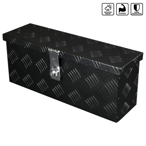 "Universal 20"" Heavy Duty Aluminum Tool Box Pickup Trailer Storage w/ Lock & Keys (Black)"