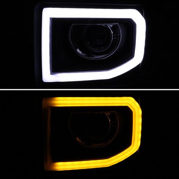 2014-2015 GMC Sierra 1500 15-16 2500HD 3500HD LED DRL Bar Projector Headlight (Chrome Housing/Clear Lens)