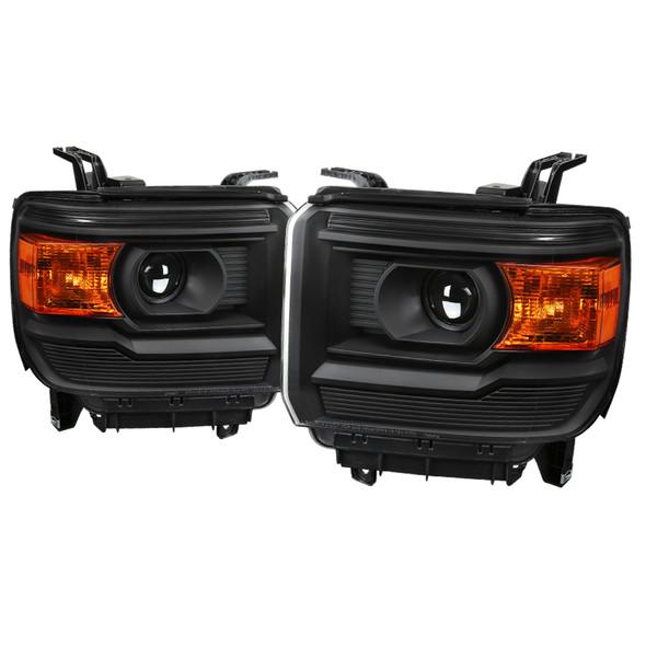 2015-2019 GMC Sierra 1500 2500 3500 HD Factory Style Projector Headlights (Matte Black Housing/Clear Lens)