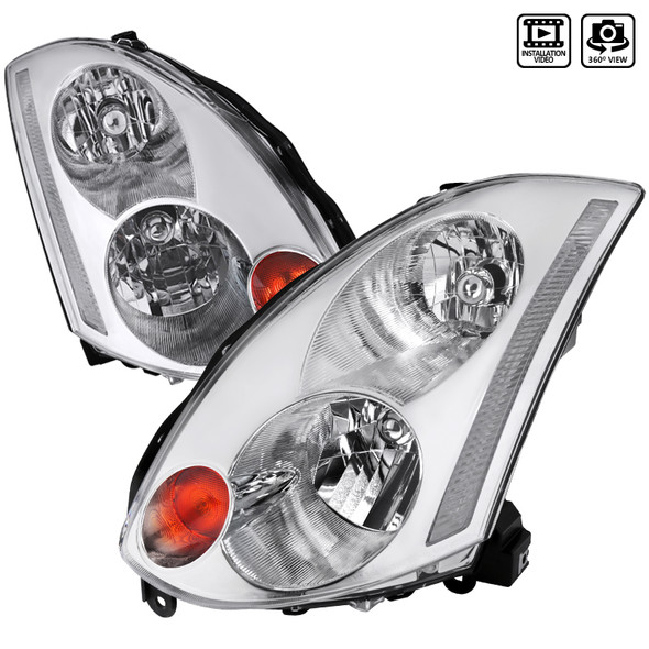 2003-2005 Infiniti G35 Coupe Factory Style Headlights (Chrome Housing/Clear Lens)