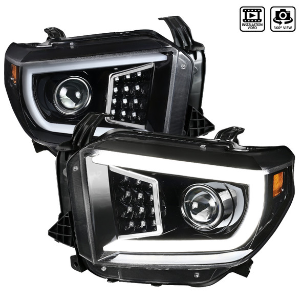 2014-2021 Toyota Tundra LED C-Bar Projector Headlights w/ Sequential Turn Signal Lights (Jet Black Housing/Clear Lens)
