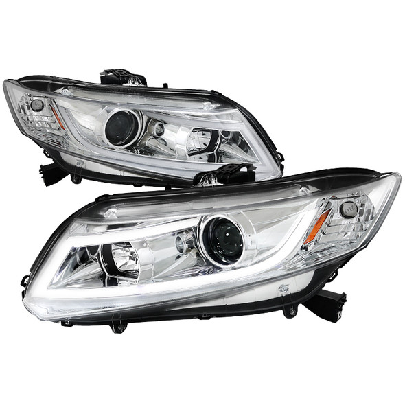 2012-2013 Honda Civic Coupe/ 2012-2015 Civic Sedan LED Bar Projector Headlights (Chrome Housing/Clear Lens)
