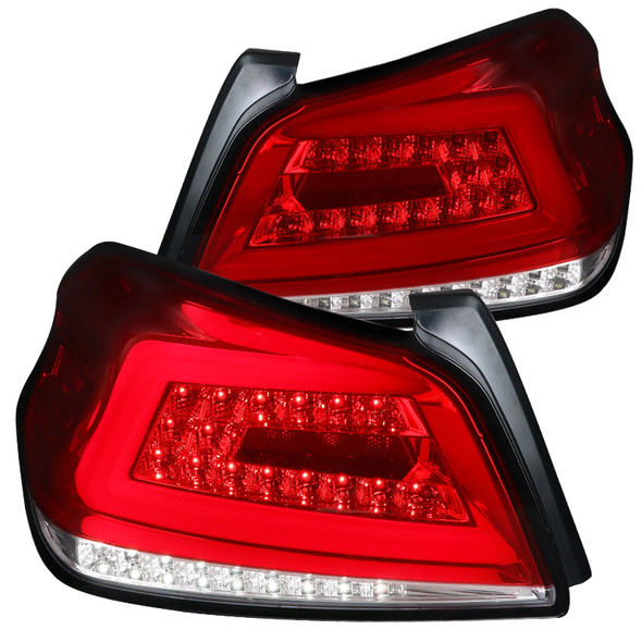 2015-2019 Subaru WRX Sequential White Neon Tube LED Tail Lights (Chrome Housing/Red Lens)