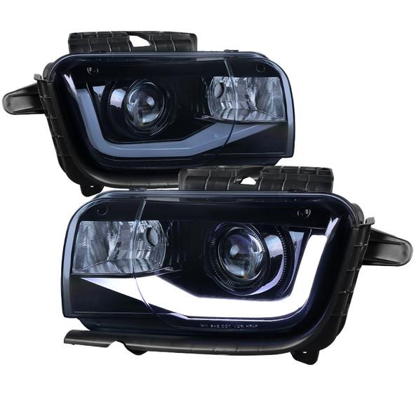 2010-2013 Chevrolet Camaro Projector Headlights w/ LED DRL & H11 Bulbs (Glossy Black Housing/Smoke Lens)