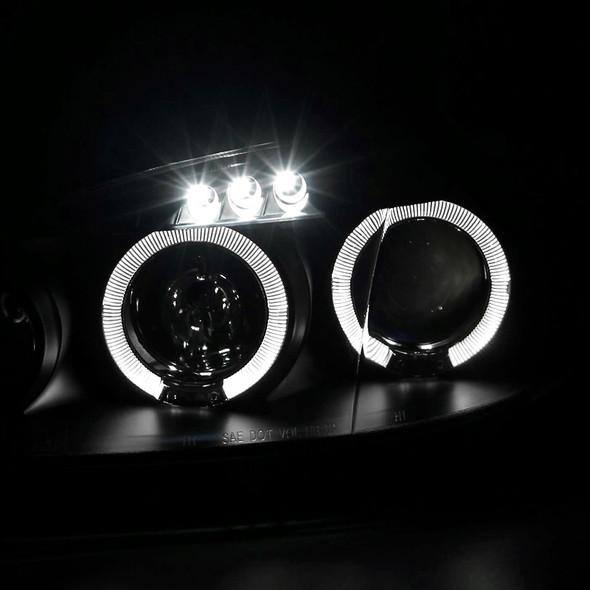 2001-2005 Mazda MX5 Dual Halo LED Projector Headlights (Matte Black Housing/Clear Lens)
