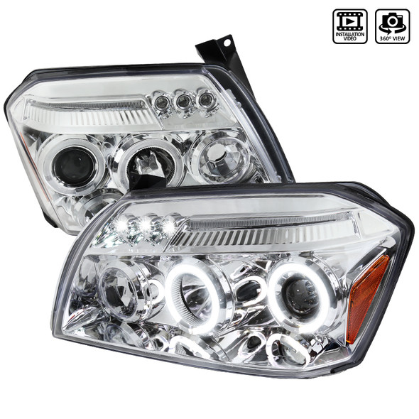 2005-2007 Dodge Magnum Dual Halo LED Projector Headlights with Amber Reflector (Chrome Housing/Clear Lens)
