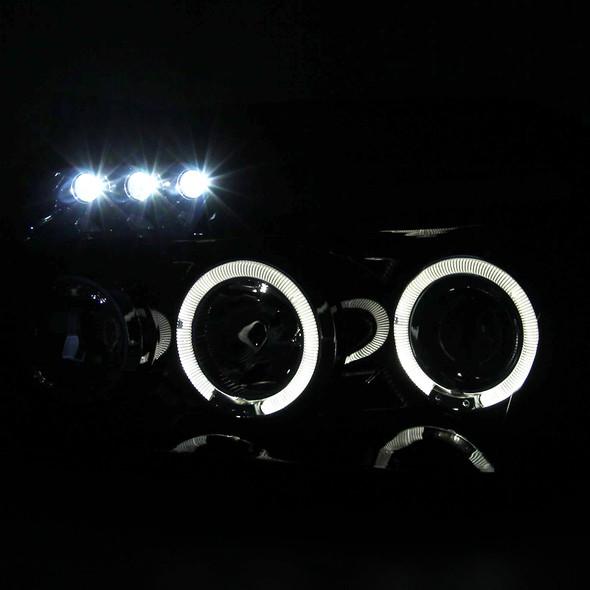2005-2007 Dodge Magnum Dual Halo Projector Headlights w/ LED DRL & H1 Bulbs (Glossy Black Housing/Smoke Lens)