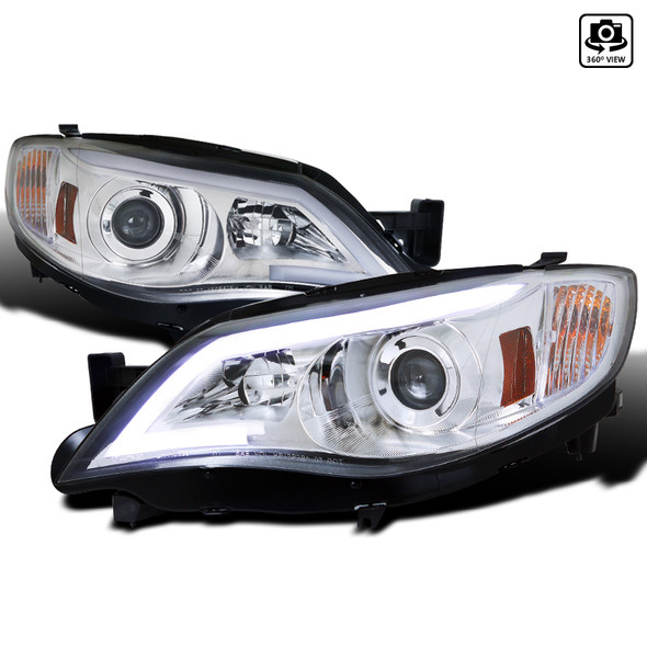 2008-2014 Subaru Impreza WRX/Outback LED DRL Projector Headlights (Chrome Housing/Clear Lens)