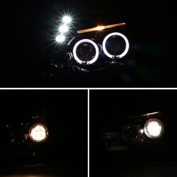 2005-2011 Toyota Tacoma JDM Style Dual Halo Projector Headlights w/ LED DRL & H1 Bulbs (Jet Black Housing/Clear Lens)