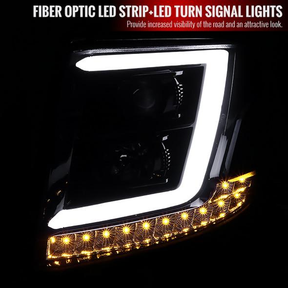 2015-2020 Chevrolet Suburban/Tahoe Projector Headlights w/ LED DRL, H1, & H7 Bulbs (Glossy Black Housing/Smoke Lens)