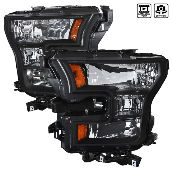 2015-2017 Ford F-150 Replacement Headlights w/ Amber Corner Reflectors (Matte Black Housing/Clear Lens)