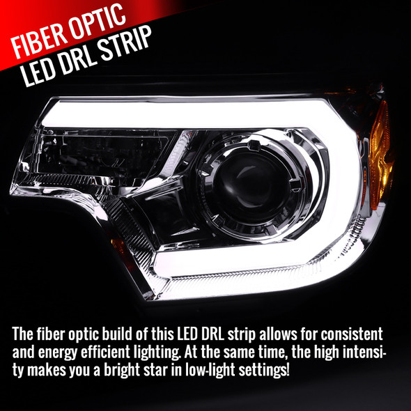 2012-2015 Toyota Tacoma JDM Style Projector Headlights w/ LED DRL Bar & H7 Bulbs (Chrome Housing/Clear Lens)