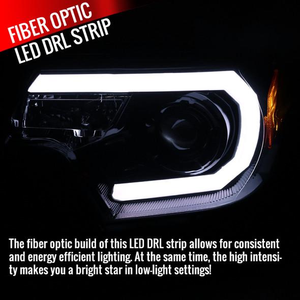 2012-2015 Toyota Tacoma JDM Style Projector Headlights w/ LED DRL Bar & H7 Bulbs (Glossy Black Housing/Smoke Lens)