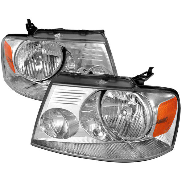 2004-2008 Ford F-150 Factory Style Headlights w/Amber Reflectors (Chrome Housing/Clear Lens)