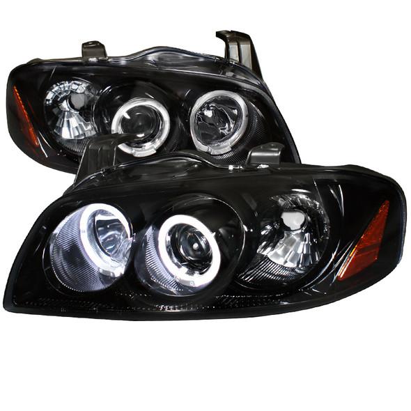 2004-2006 Nissan Sentra JDM Style Smoke Lens Dual Halo Projector Headlights w/ LED DRL