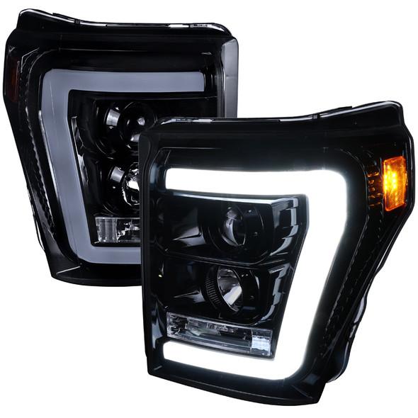 2011-2016 F-250/F-350/F-450/F-550 Super Duty Projector Headlights w/ LED DRL (Glossy Black Housing/Smoke Lens)
