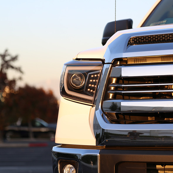 2014-2021 Toyota Tundra LED C-Bar Projector Headlights w/ Sequential Turn Signal Lights (Matte Black Housing/Clear Lens)