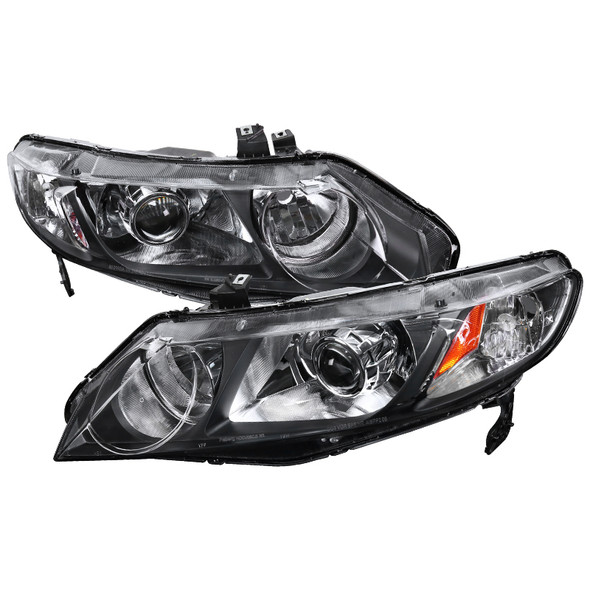 2006-2011 Honda Civic Sedan Retro Style Projector Headlights (Matte Black Housing/Clear Lens)