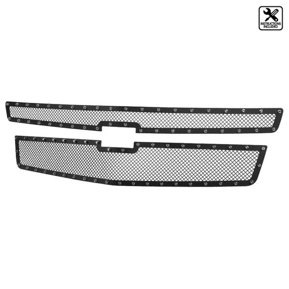 2015-2018 Chevrolet Suburban/Tahoe Black S/S Rivet Style Mesh Upper Grille Insert - 2 PC