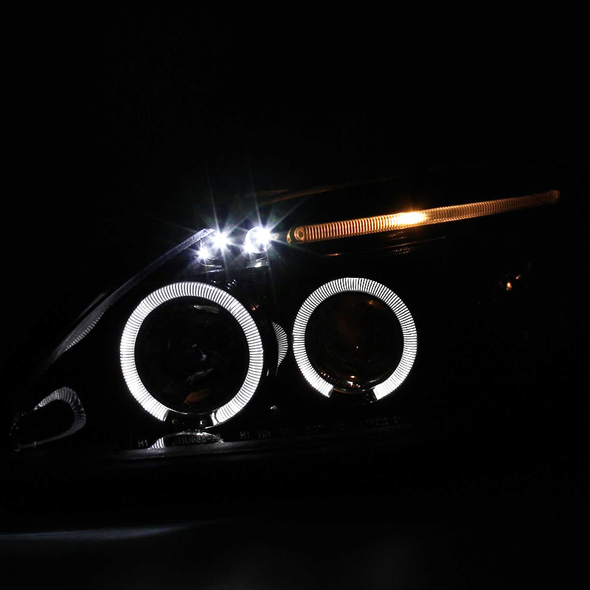 1999-2000 Honda Civic 2/3/4DR JDM Style Smoke Lens Dual Halo Projector Headlights w/ LED DRL