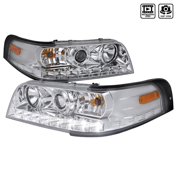 1998-2011 Ford Crown Victoria LED Projector Headlights (Chrome Housing/Clear Lens)