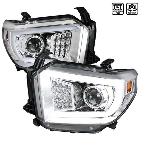 2014-2021 Toyota Tundra LED C-Bar Projector Headlights w/ Sequential Turn Signal Lights (Chrome Housing/Clear Lens)