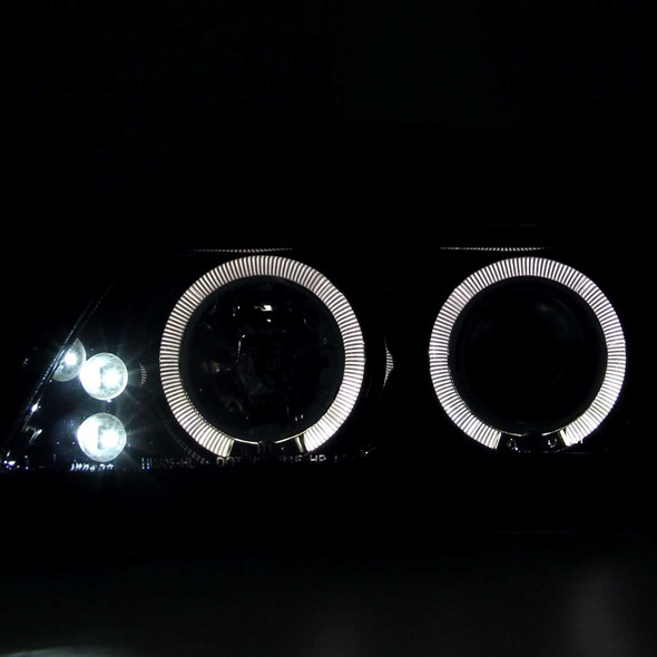 2005-2010 Scion tC JDM Style Dual Halo Projector Headlights w/ LED DRL & H1 Bulbs (Glossy Black Housing/Smoke Lens)