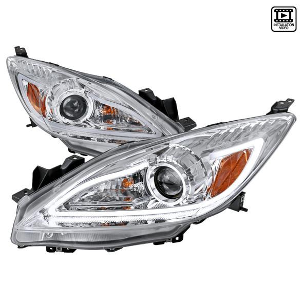 2010-2013 Mazda 3 LED Projector Headlights (Chrome Housing/Clear Lens)