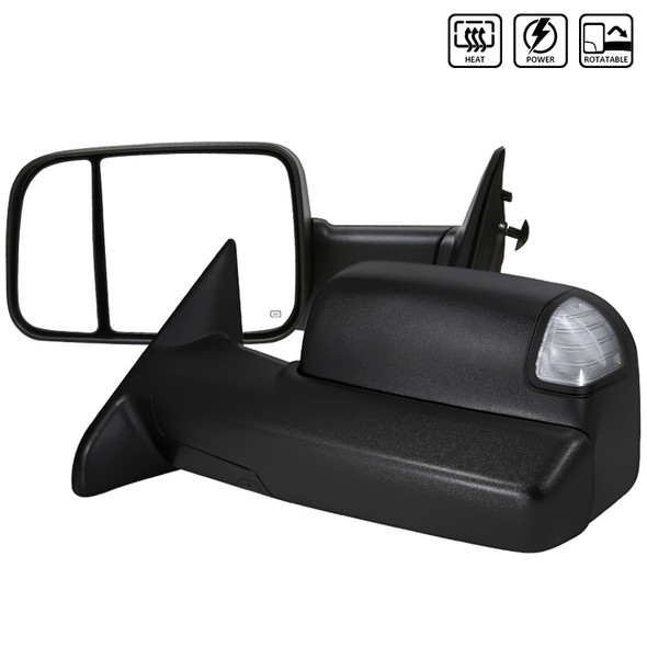 Miniclue 2pcs Clear Lens LED Side Mirror Turn Signal Lamps Compatible with 2010-2017 Dodge Ram 1500 2500 3500 4500 5500