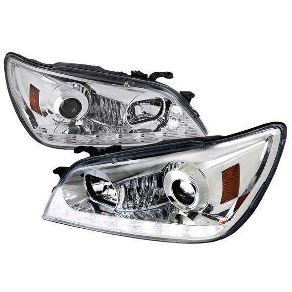 2001-2005 Lexus IS300 Projector Headlights w/ LED Light Strip & LED Turn Signal Lights (Chrome Housing/Clear Lens)