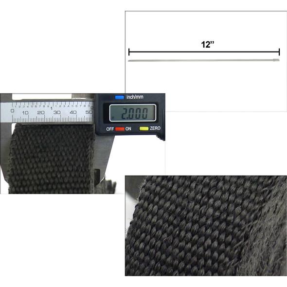 """2"""" 50FT Exhaust Header Fiberglass Heat Wrap w/ Stainless Steel Zip Ties (Black)"""
