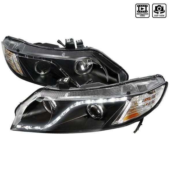 2006-2011 Honda Civic Sedan R8 Projector Headlights (Matte Black Housing/Clear Lens)