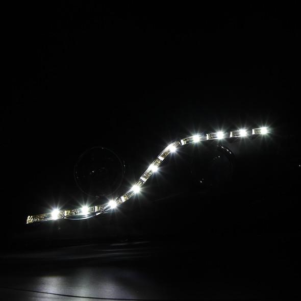 2006-2011 Honda Civic Sedan Projector Headlights w/ R8 Style LED Light Strip (Matte Black Housing/Clear Lens)