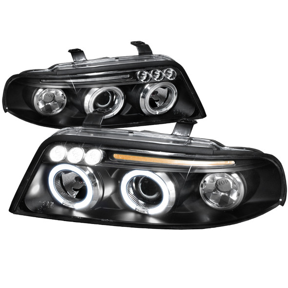 1999-2001 Audi A4/S4 Clear Lens Projector Headlights w/ LED DRL & H1 Bulbs (Matte Black Housing/Clear Lens)
