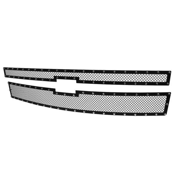 2014-2015 Chevrolet Silerado 1500 Rivet Mesh Upper Main Grille Inserts 2PC