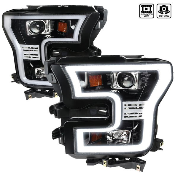 2015-2017 Ford F-150 Projector Headlights w/ LED DRL & H1, H9 Bulbs (Jet Black Housing/Clear Lens)