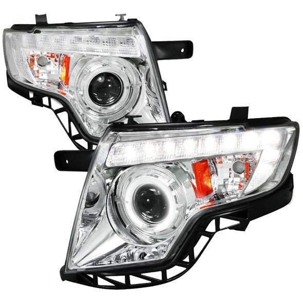 2007-2010 Ford Edge Halo LED Projector Headlights (Chrome Housing/Clear Lens)