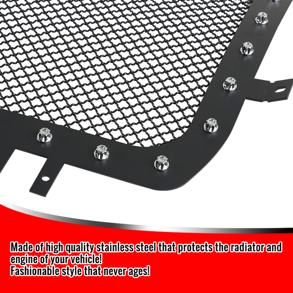 2014-2015 GMC Sierra 1500 Textured Black Rivet Studs S/S Upper Mesh Grille Insert