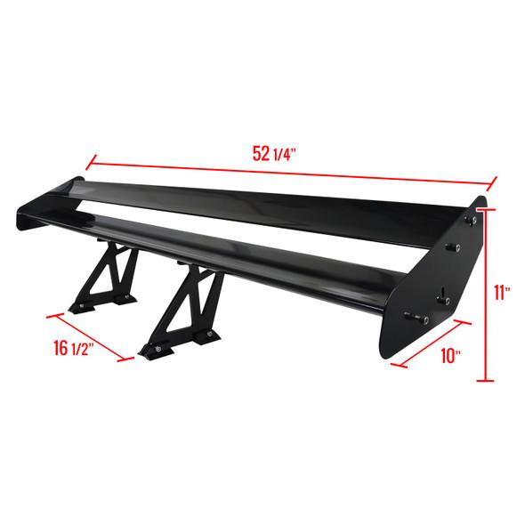 "Universal Black CNC Aluminum 52"" Double Deck Adjustable Trunk Spoiler Wing"