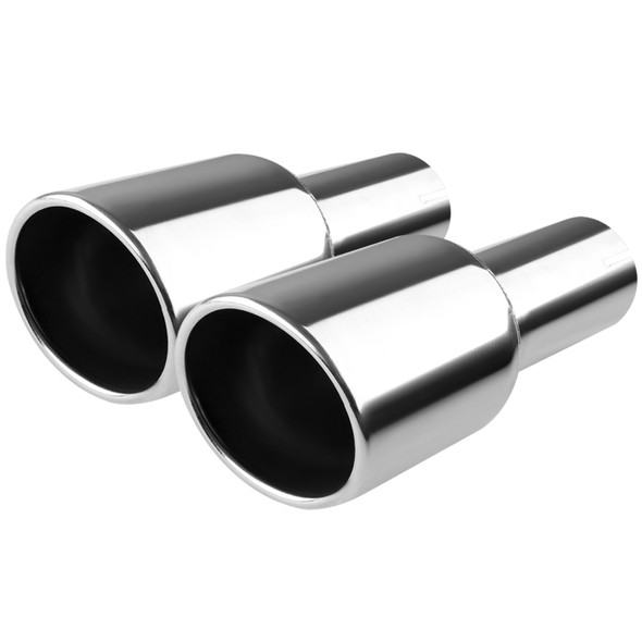 """Universal 4.125"""" Slant Angle Round Tip 2.5"""" Inlet Stainless Steel Exhaust Muffler"""