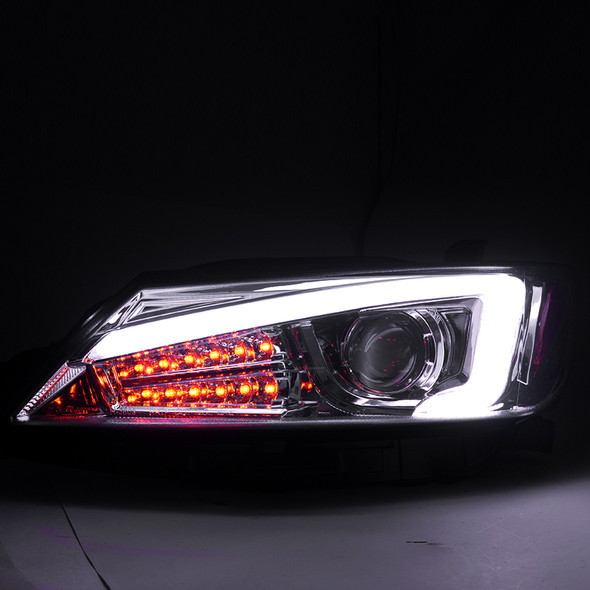 2011-2013 Scion tC DRL LED Projector Headlights w/LED Turn Signals (Chrome Housing/Clear Lens)