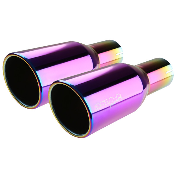 "Universal 3.875"" Slant Titanium Purple Burnt Tip 2.5"" Inlet Stainless Steel Exhaust Muffler"
