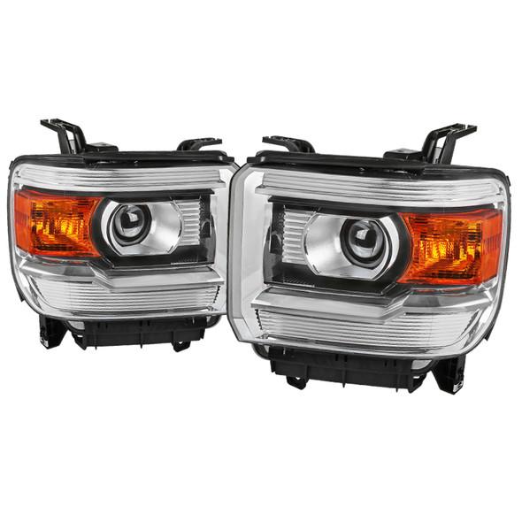 2015-2019 GMC Sierra 1500 2500 3500 HD Factory Style Projector Headlights (Chrome Housing/Clear Lens)