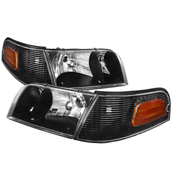 1998-2001 Ford Crown Victoria Factory Style Headlights (Matte Black Housing/Clear Lens)