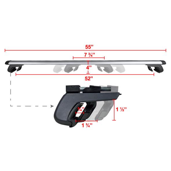 Universal Aluminum Roof Rack Cross Bars w/ 4x Adjustable Clamps