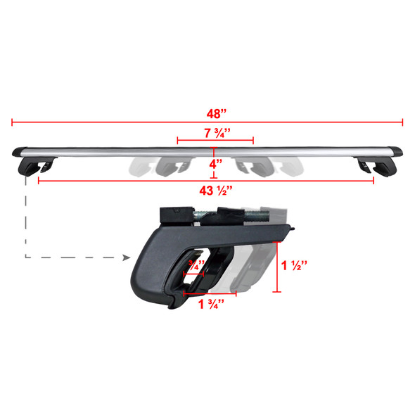 Universal Aluminum Roof Rack Cross Bars w/ Adjustable Clamps