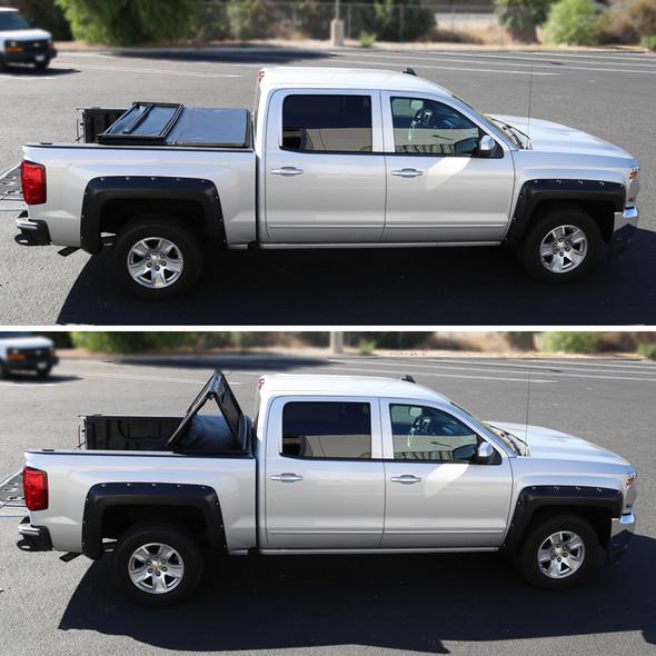 """2002-2018 Dodge RAM 1500/2500/3500 8' (96"""") Tri-Fold Tonneau Cover w/ Stick Touch Lamp"""