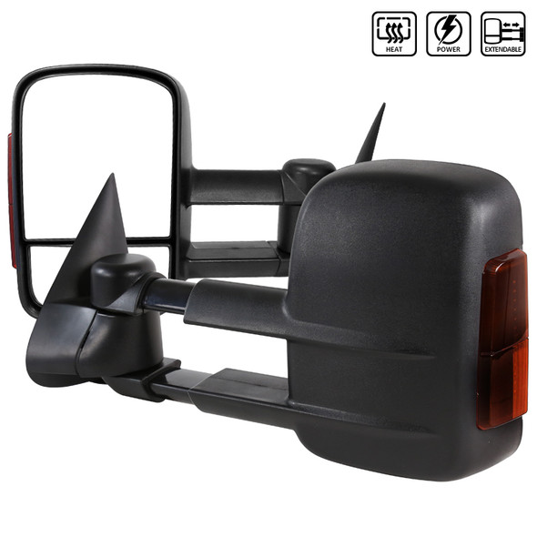 2003-2007 Chevrolet Silverado LED Extending Power Towing Mirrors (Black)